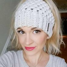 New Ponytail Beanie Winter Hats For Women Crochet Knit Cap Skullies Beanies Warm Caps Female Knitted Stylish Hat Ladies Fashion все цены