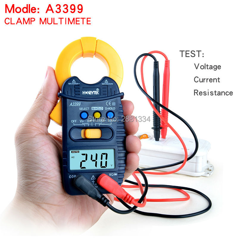 A3399 Mini Digital Clamp Multimeter Meter Current AC/DC Voltage Resistance Capacitance Frequency Tester Detection free shipping  цены