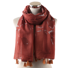 Winfox Fashion Casual Long Soft Wrap Scarf Female Pink Grey Leaf Printed Tassel Scarves Women Spring Beach Shawl Ladies