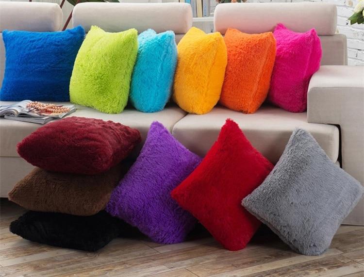 "40x40cm/15.75x15.75"" Solid Cushion Cover Long Plush Decorative Throw Pillow Cover Seat Sofa Embrace Pillow Case Home Decor"