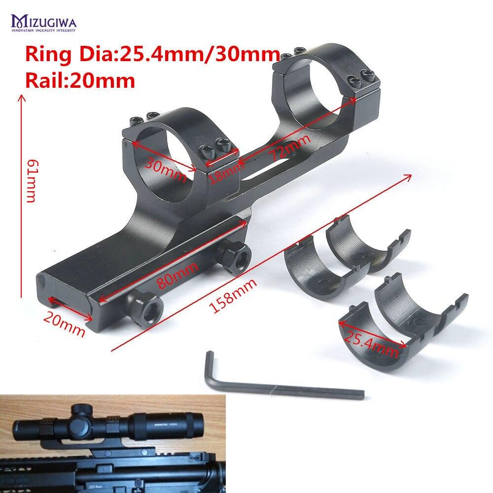 Mizugiwa Tactique Heavy Duty Flat Top Cantilever Offset Anneau 30mm/25.4mm QD Bâti de Portée Picatinny Rail 20mm Adaptateur Weaver Laser