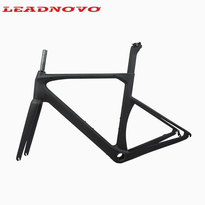 LEADNOVO Carbon Road Bike Frame V brakes Di2 Mechanical UD black carbon fibre road cycling race bicycle frameset taiwan bike(China)