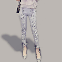High Stretch Pencil Pants Lace Up Solid Skinny Ankle Length Trousers Women New Fashion Europe And