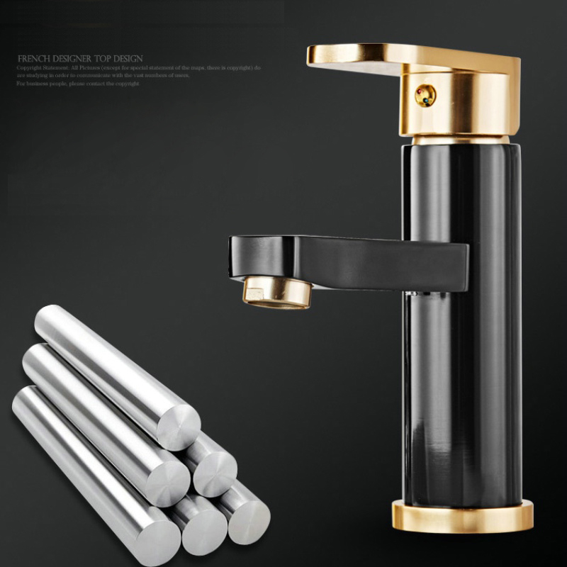 BECOLA Gold color handle basin faucet cold and hot water bathroom faucet fashion black style tap