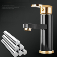 Gold Color Handle Basin Faucet Cold And Hot Water Bathroom Faucet Fashion Black Style Tap B