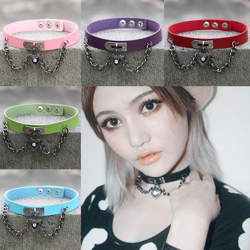 Active Fine Quality Punk Collar Choker Necklace Harajuku Pu Leather Choker Punk Goth 100% Handmade Neck Jewelry