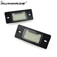 runmade 2Pcs/Set White 18SMD LED Number License Plate Lights For VW Touareg Tiguan Golf 5 Passat B5.5
