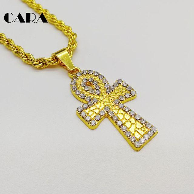CARA Neue Iced Out Bling strass Ankh kreuz halskette anhänger Ägyptischen  Religion leben CARA0411