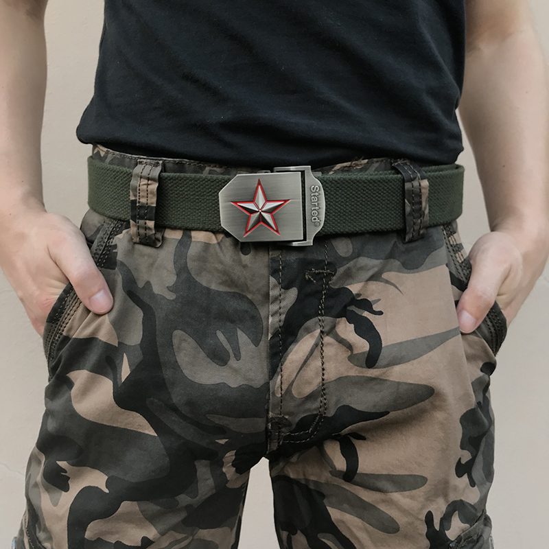 canvas   belts   men women 3D five rays red star military   belt   army strap patriotic retired soldier canvas jean punk viking luxury