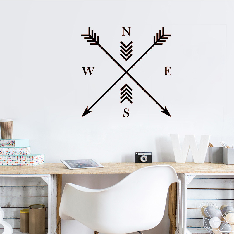 Can be removed Vinyl Carved Direction compass Wall Sticker classic bedroom Living room background Home Decoration stickers
