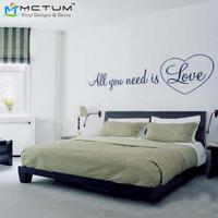 Large Size 43 155cm All You Need Is Love Wall Quote Vinyl Decal Sticker Free Shipping
