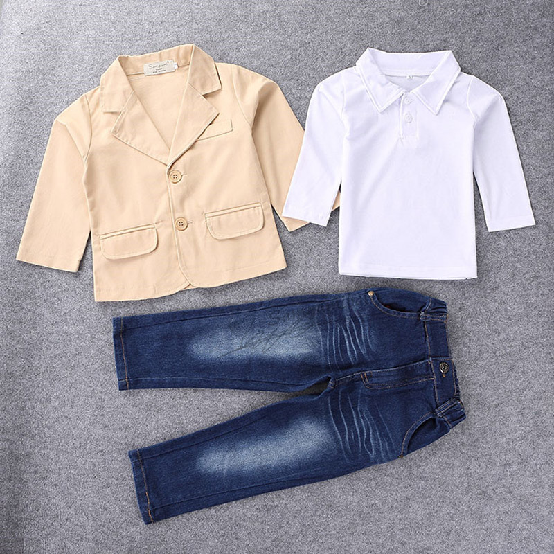 Retails New children clothing fashion character kids casual boys cloting sets cute coat jacket shirt pants 3 pcs sports sets
