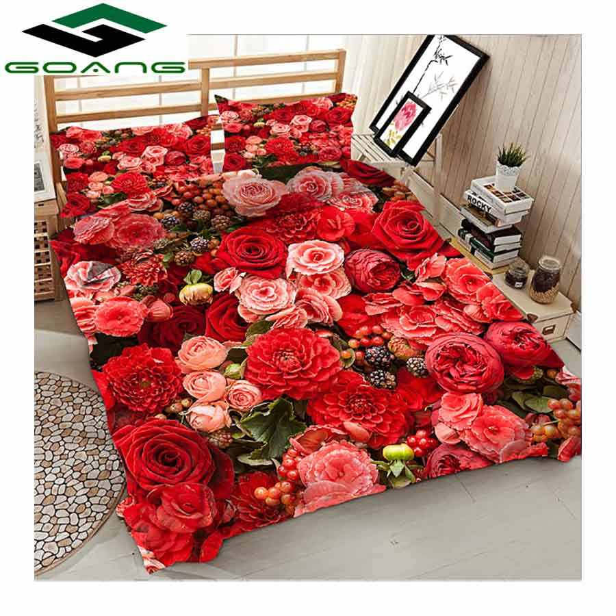 GOANG luxury bedding set bed sheet duvet cover pillow case 3pcs queen size bed sheets set 3d digital printing red rose