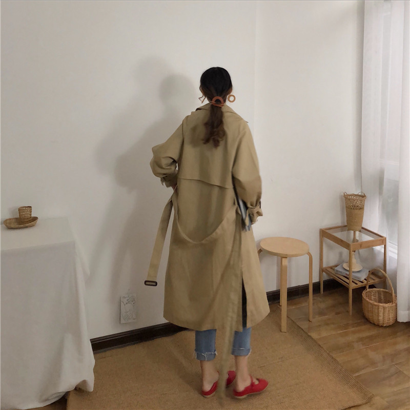 Spring And Autumn Women Fashion Brand Korea Style Waist Belt Loose Khaki Color Trench Female Casual Elegant Soft Long Coat Cloth 6