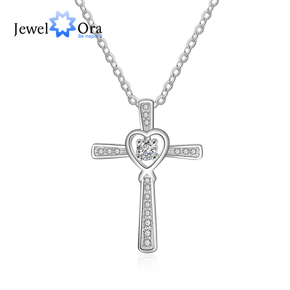 Cross With Heart 925 Sterling Silver Necklaces & Pendants CZ Stone Wedding Jewelry Necklaces For Women (JewelOra NE103156)Cross With Heart 925 Sterling Silver Necklaces & Pendants CZ Stone Wedding Jewelry Necklaces For Women (JewelOra NE103156)