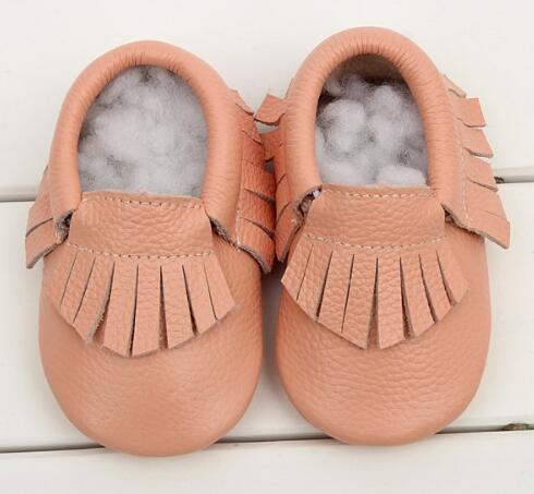 0-24 M Genuine Leather tassels Baby moccasins Girls Newborn Anti-slip infant Shoes Toddler First Walker Soft Moccs Bebe boots new genuine leather handmade leopard toddler baby moccasins girls kids ballet shoes first walker toddler soft dress shoes