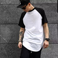 Mens T shirt Casual Solid Tee Cotton Hip Hop Arc Hem Raglan Sleeve Tshirt Top High Quality Short Sleeved T-shirt For Men