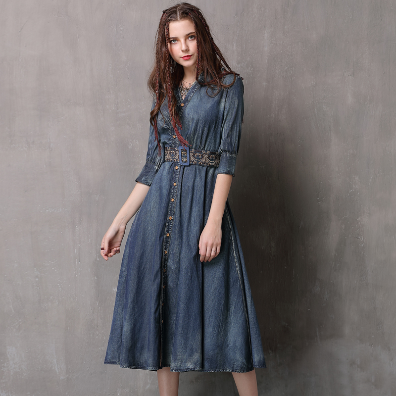 Women Dress 2018 Keer Boho Cotton Denning Embroidery Dresses V-Neck Full Sleeve Vestidos A82083 Vintage Denim Vestido Feminina