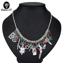 2017 New DIY custom made Suicide squads Necklace Harley quinn Pistol baseball Card skull clown crystal choker Necklace