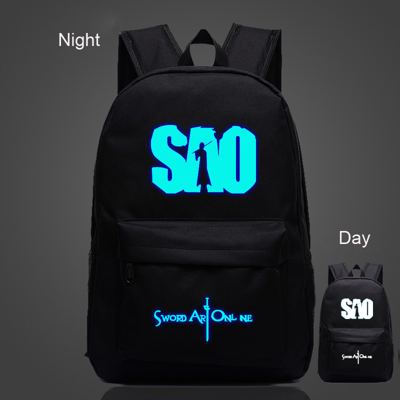 Anime Sword Art Online SAO Kirigaya Cospaly Printing Casual Luminous School Bags Travel Bag Nylon Backpack