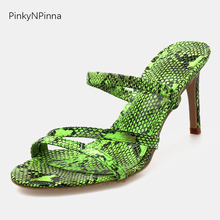 Stiletto mules high heels sexy sandals woman green snakeskin pattern toe strap gladiator slippers female summer fashion shoes