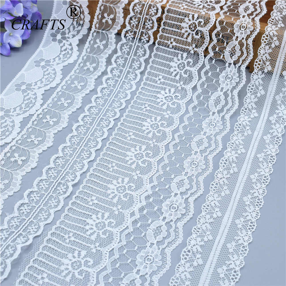 2018 Global Hot Sale 10 yards beautiful white lace ribbon European lace fabric lace sew embroidery dress accessories  crane embroidery ribbon tape detail jacket