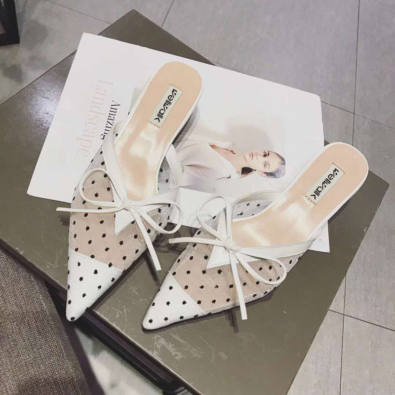 Ladies Shoes 2018 Fashion Women Air Mesh Heel Mules Butterfly-knot Slippers Spring Women Heel Slides Summer Women Shoes Heel 4cm