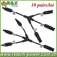 New brand MC4 3 to 1 branch solar connector with cable, 10 pairs/lot, Solar 1 X 3 branch Connector, for solar power system.