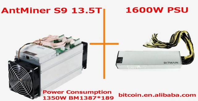 2017 AntMiner S9 13.5T + 1600W PSU 13.5Th/s Bitmain 13500Gh/s Asic Miner Bitcon Miner 16nm BTC Mining Power Consumption 1350w