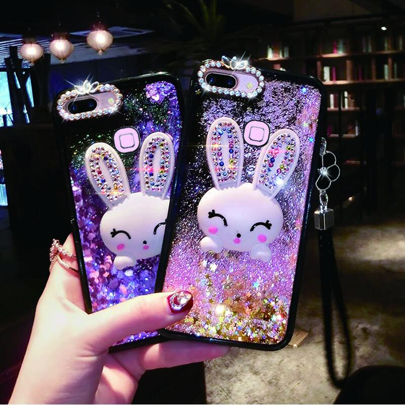 Diamond Rabbit <font><b>Case</b></font> For <font><b>OPPO</b></font> F9 Pro <font><b>Cover</b></font> <font><b>Liquid</b></font> Mobile Phone <font><b>Cases</b></font> For <font><b>OPPO</b></font> A73 A77 A79 A83 A9 2018 F3 F5 F7 Bracket Phone <font><b>Case</b></font> image