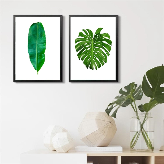 Tropical Plant Leaf Canvas Art Print Poster , Nature Green Leaf Wall  Pictures For Home Decoration