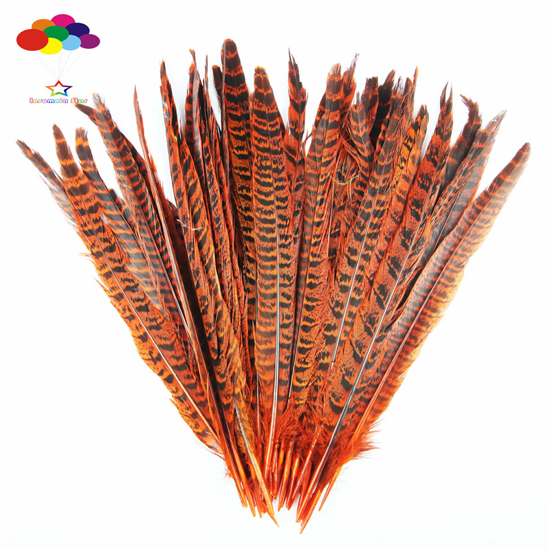 Z&Q&Y Natural 100 Root 25-30CM (10-12 Inches) Mother Mountain Feather Dyeing Orange DIY  ...
