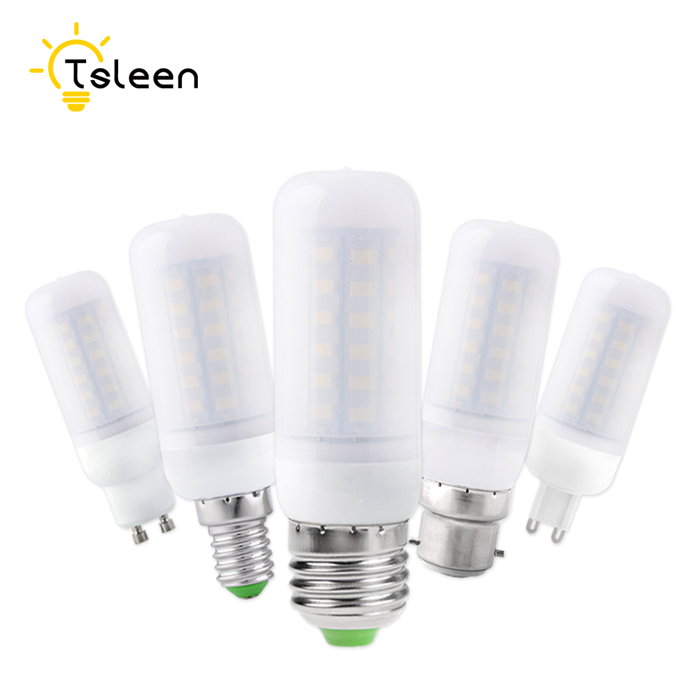 TSLEEN 5Pcs Bright E14 E27 B22 G9 GU10 Base Milky White 5730 Chip LED Corn Bulb Light Cool Warm White Lamp 7W 9W 12W 15W 20W 25W