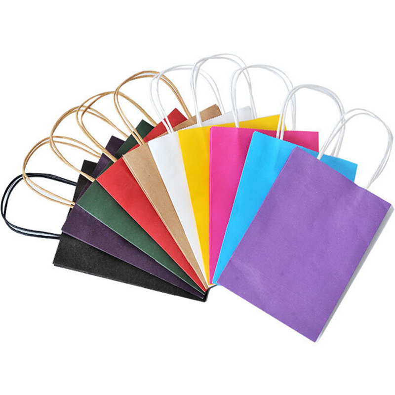 100% Recyclable Kraft Paper Gift Bag With Handle Dress Shopping Bag Wedding Gift Package Phone Bags Designed Own Logo On Bags