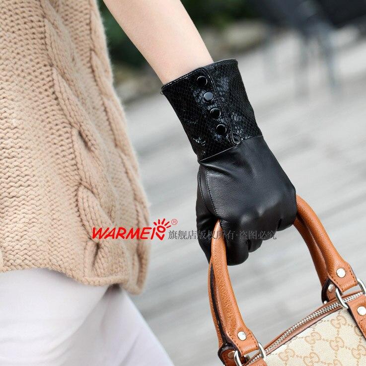 Top Kualitas Mode Hitam Musim Dingin Sarung Tangan Kulit Untuk Sarung  Tangan Guante de cuero Wanita Pendek 1 Pair lot 0bc4de0951