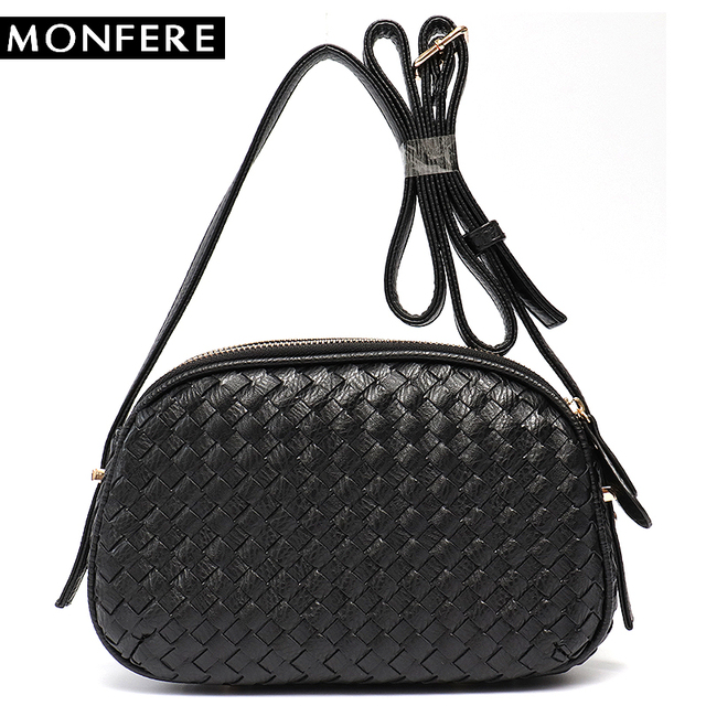 Monfer Small Leather Women Cross Body Bag Multi Pockets Functions Sections Cute Mini Female Side