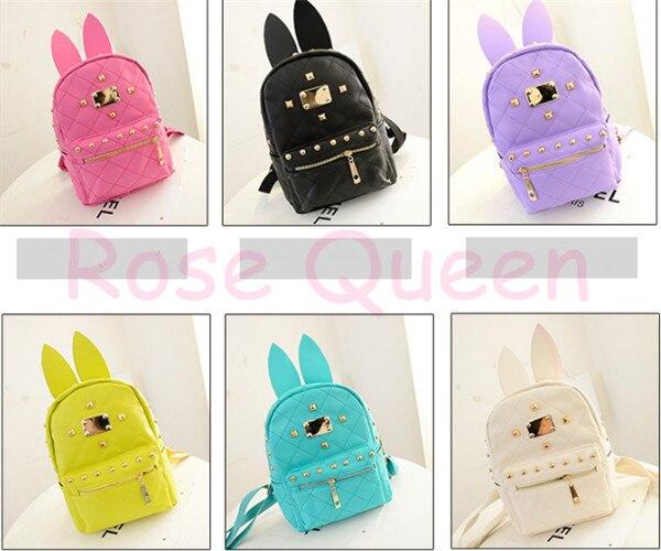 ae5637494102 Japan BUNNY EARS wonderland New Rivets rabbit Bag Backpack pastel cute  kawaii harajuku small bag amo Free shipping 2017