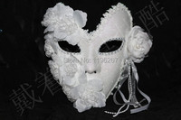 Free Shipping Handmade White Masquerade Masks Lace Floral Decor Glitter Venice Mask Latex Female Mask Party