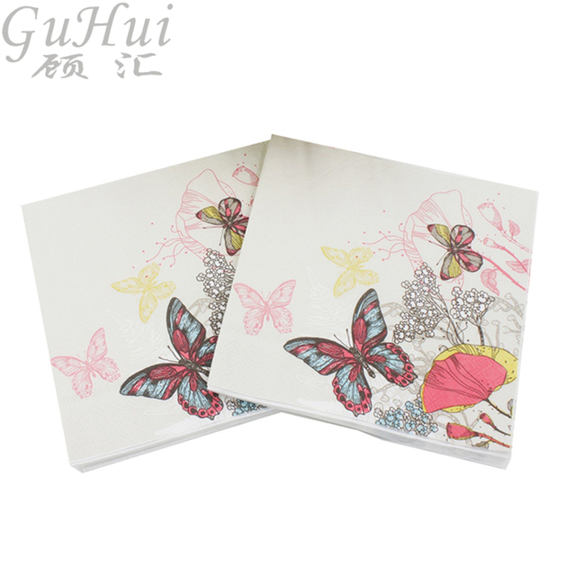 100Pcs Flower Butterfly Insect Tissue Printed White Disposable Paper Napkin Event Party Wedding Birthday Table Decor Supply