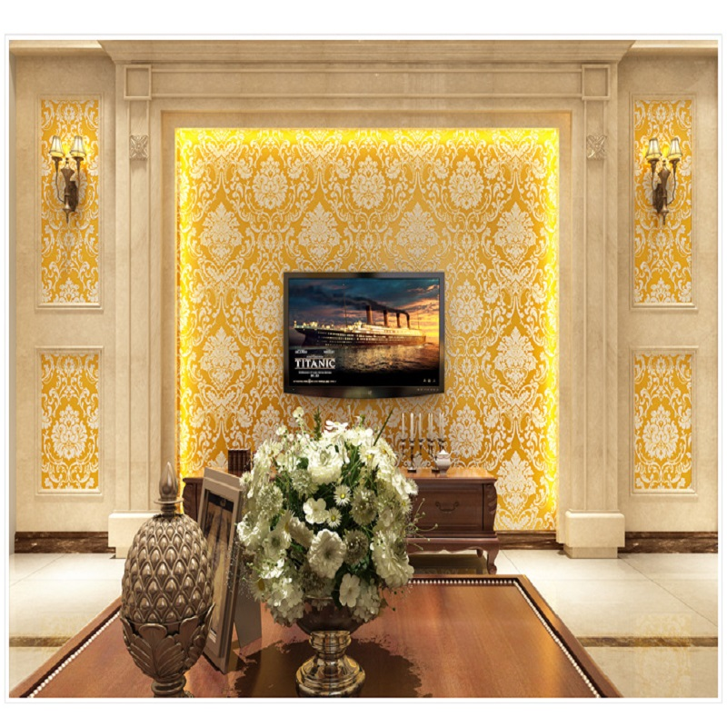 Vintage classic gold beige french modern damask feature for Gold wallpaper living room