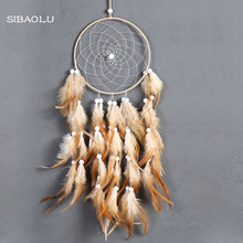 SIBAOLU NEW feather crafts  dream catcher handmade dreamcatcher net with feather beadsfor wall hanging home car decor gift недорого
