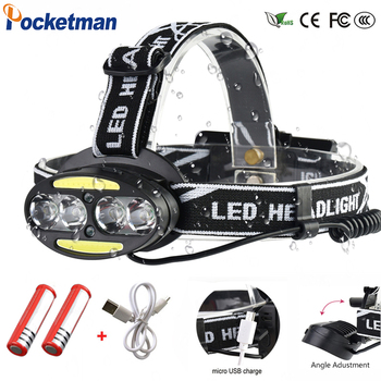 Headlight Super Powerful headlamp 4* XM-L T6 +2*cob+2*Red LED Head Lamp Flashlight Torch Lanterna with batteries charger z91