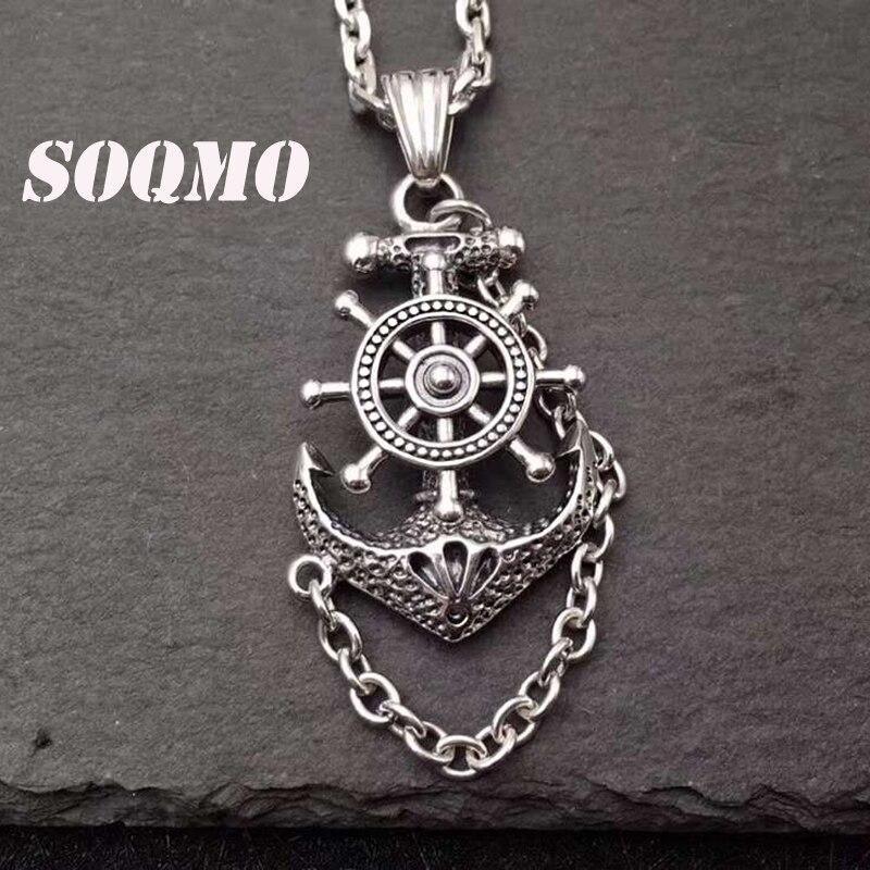 SOQMO solide pur 925 argent Sterling ancre gouvernail bateau Pirate bateau de pêche voile breloques collier pendentif bijoux SQM164