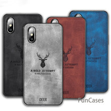 For Iphone 7 8 6S 6 Plus/Xs Max /Xr Cover Fashion Elk Deer Patter Cloth Texture Silicon Phone Cover For Iphone Xs Coque(China)