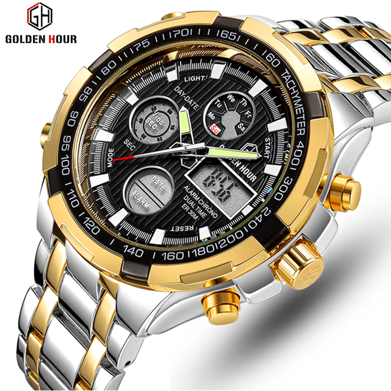 GOLDENHOUR Brand Analog Quartz Watch Men's Sport Watches Men Full Steel Military Clock Waterproof Male  Watch Relogio Masculino