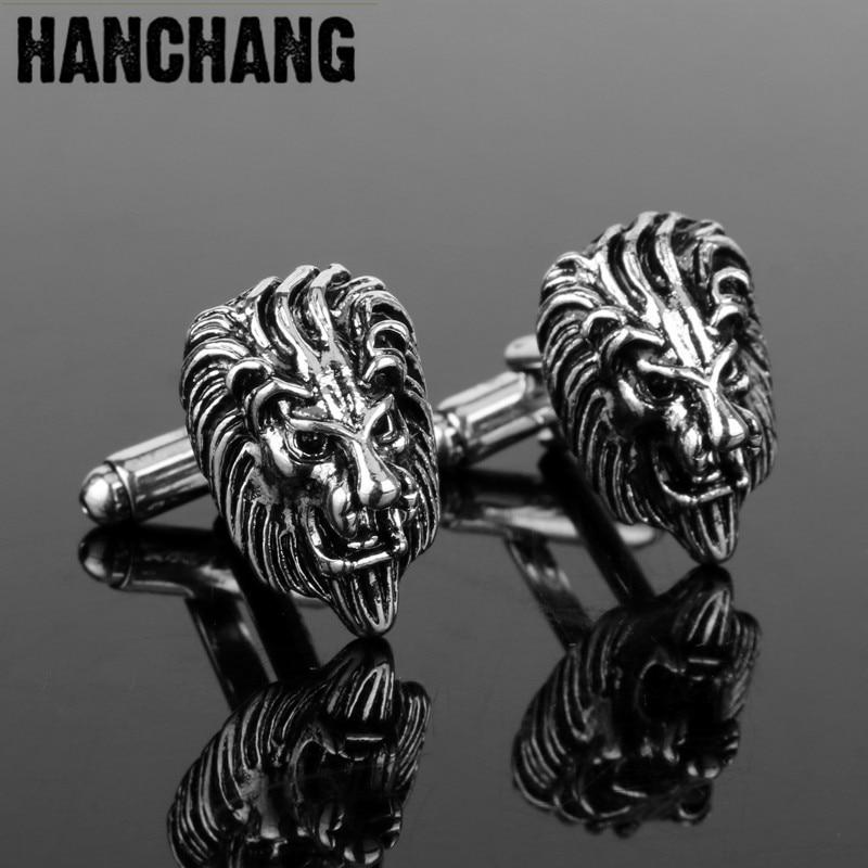 Mansjettknapper for menn 3D Kongens skog Lion Head Mansjettknapper Smykker Mansjettknapper Kule Mansjettknapper pins Tie Clip & Cufflink