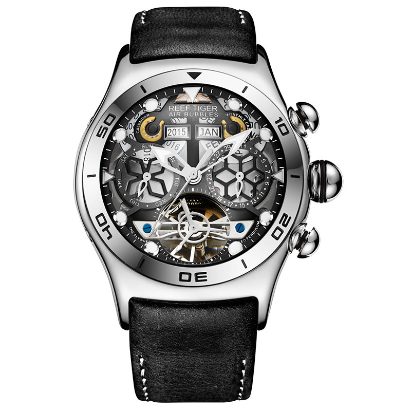 Récif tigre/RT hommes Sport montres automatique squelette montre en acier étanche Tourbillon montre avec Date jour reloj hombre RGA703