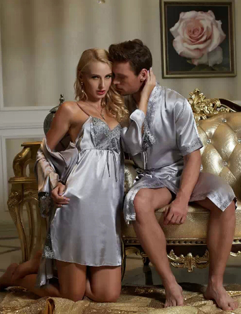 Free Shipping Couple Robe Set  Emulation Silk Silvery Grey Women Bathrobe Sexy V-neck  Men Robes Sweet Lover Nightwear On Sale