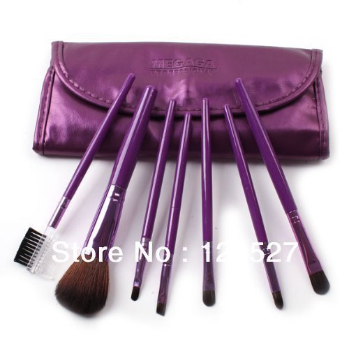 Free shipping 7 Pcs Professional Makeup Brush Cosmetic travel portable Brushes with Leather Case girl chrismas fashion gift
