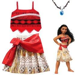 Moana menina vestido de verão com colar crianças roupa de aventura crianças princesa festa praia cosplay traje vaiana maiô biquíni